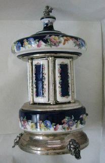 Italian Capodimonte Porcelain Reuge Carousel Music Box Cigarette Holder 1960'S
