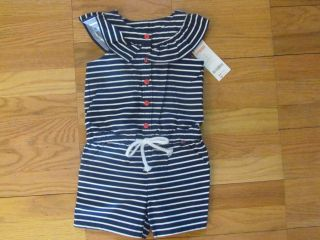 79bf5945f Girls Gymboree 3T Blooming Nautical Striped Jumper Outfit Romper Shorts