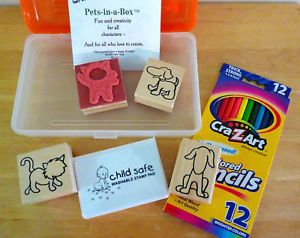 Pets in A Box Dog Cat Rubber Stamp Art Drawing Kit