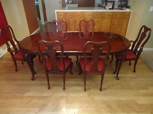 Thomasville Cherry Dining Room Set Table 6 Chairs Queen Anne Ships