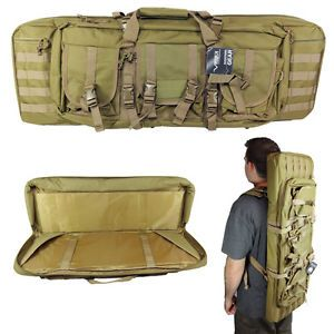 36 Dual Rifle Dual Pistol Tan Case Backpack MOLLE Double Carbine