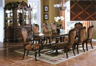Amsterdam 7pc Traditional Formal Brown Wood Dining Room Table Chairs Set
