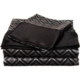 Divatex Royal Opulence Satin Sheet Set Black Double Diamond Print All Sizes