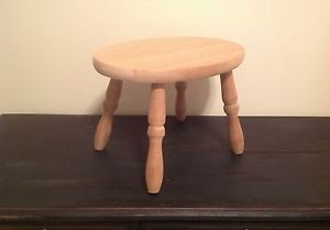 ... Unfinished Wooden Step Stool Kids Chair Pedestal Wood Bare Wood Vintage  ...