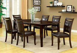 "7pc Solid Wood Dining Room Table Set with 18"" Expandable Leaf and Leather Seats"
