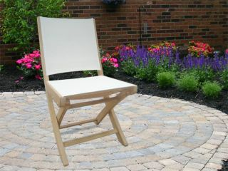 New Royal Teak Collection Teak Sailmate Folding Patio Chair in White Sling