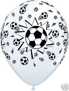"""10 Qualatex 11"""" Football Soccer Theme Party Balloons for Helium or Air Fill"""