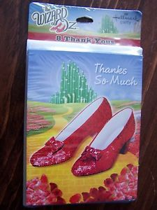 Wizard of oz Ruby Slipper Thank You Cards Party Supplies Set of 8