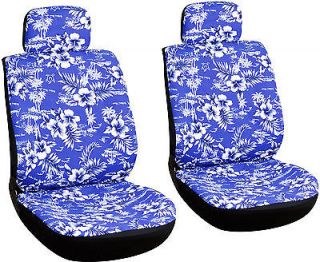 6 Piece Hawaiian Blue Front Car Seat Cover Set Bucket Chairs Free Shipping