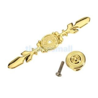Golden Tone Cabinet Drawer Pull Knob Handle Home Door Decoration w Back Plate