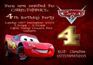custom disney cars movie birthday invitations cards