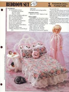 Bedroom Set for Barbie Doll Annie's Plastic Canvas Pattern New