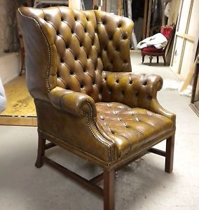 Antique Leather English Tufted Wing Chair