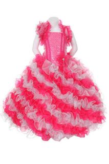 New Girl Glitz Pageant Party Dress Bolero Wedding Ruffled Dress 2 4 6 8 10 12