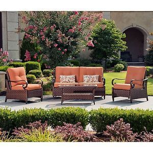 New 4 PC Rio Grande Outdoor Deep Seating Set Loveseat Rocking Chair Coffee Table
