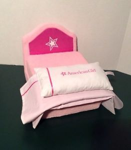 American Girl Soft Pink Plush Folding Lounge Chair Doll Bed with Pillow Blanket