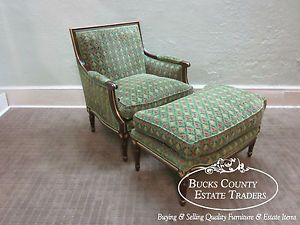 Custom French Louis XVI Bergere Living Room Chair Ottoman 2pc Chaise Lounge