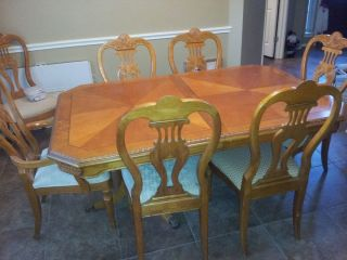 Solid Wood Dining Room Set with 8 Upholstered Chairs