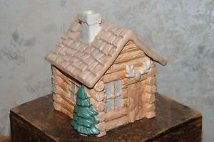 "Heavy Log Cabin Ceramic Cookie Jar by Treasure Craft 10"" Tall 9"" Wide Lovely"