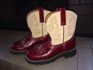 Ariat Fat Baby Boots Red Tan Size 8 5B