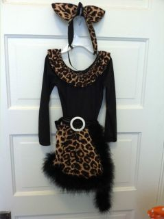 Kitty Cat Costume Toddler Girl Cheetah Print 3T Halloween Cute