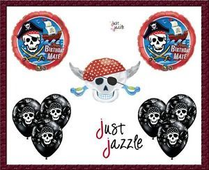 Pirate Happy Birthday Mate Skull Sword Crossbones Party Supply Balloon Latex Set