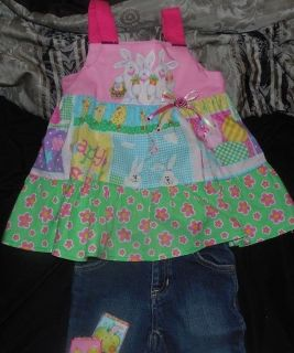 National Pageant Outfit Spring Casual Wear OOC Easter Bunny Egg Denim Size 2T