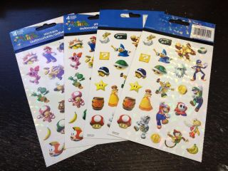 4 Sheets Super Mario Stickers Party Favors Teacher Supply