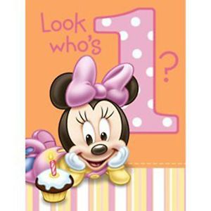 Disney Minnie Mouse 1st Birthday Invitations 8 Ct Baby Girl Party Supplies