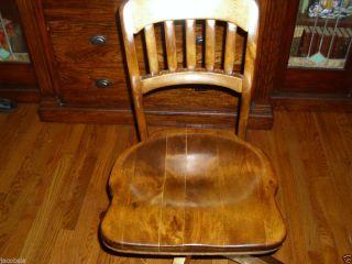 Antique Wooden Stenographer's Desk Chair on Swivel Wheels