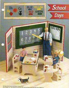 School Days Furniture Plastic Canvas Pattern by Annies for Fashion Doll RARE