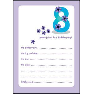 Pack Of 10 Childrens Birthday Party Invitations 8 Years Old Girl Bpif 21 Purple
