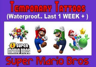 Temporary Tattoo Kids Super Mario Brothers Party Last 1 Week Loot Bag x32 X16