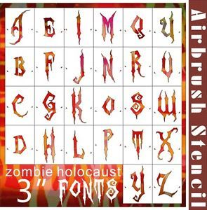 "26 PC 3"" Font Alphabet Airbrush Stencil DIY Wall Home Decoration Party 002032Y 9"