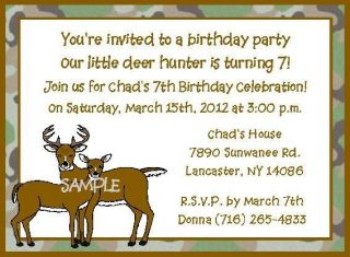 Deer Hunter Hunting Camouflage Buck Doe Any Age Birthday Party Invitations