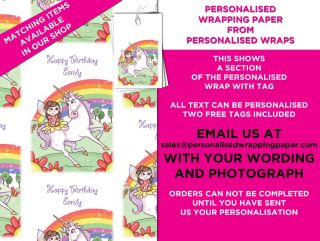 Personalised Wrapping Paper Free Tags Fairy and Unicorn Birthday Girl Gift Wrap