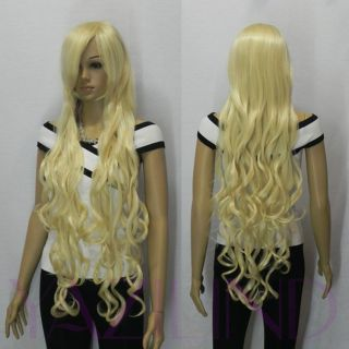 Hot Sell New Fancy Dress Wigs Long Blonde Curly Wavy Cosplay Party Hair Wig Lady