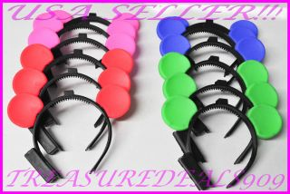 12 Pcs Minnie Mickey Mouse Ears Light Up Headbands Multi Color Party Favors Cute