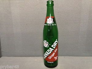 Painted Label Soda Bottle Canada Dry Ginger Ale 16 Ounce Green Glass Empty