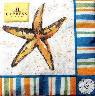 Cypress Home Set of 20 Cocktail Beverage Paper Napkins Brush Coastal