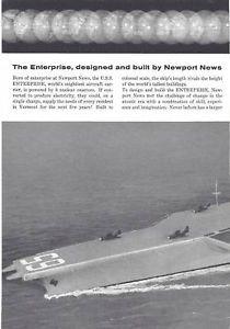 1960 Newport News USS Enterprise Aircraft Carrier Ad