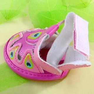 Anti Slip PU Leather Summer Sandal Shoes Boots for Pet Dog Puppy Shocking Pink
