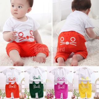 Baby Infant Kids Girls Boys Animal Cats Design Short Sleeve Top T Shirt Pants