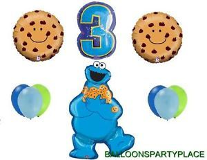 10pc 3rd Birthday Cookie Monster Balloons Lot Party Supplies Sesame Street Third