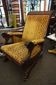 Antique Eastlake Aesthetic Platform Rocker Leaf Carved Wood Upholstered Chair