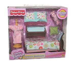 Fisher Price Loving Family Dollhouse Parents Bedroom Mom and Dad Furniture New