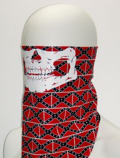 Rebel Skull Biker Face Mask Shield Confederate Flag Southern Motorcycle Bandana