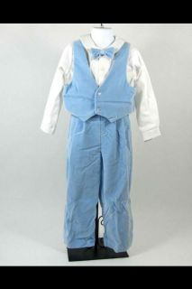 Boys Light Blue Velvet Suit Vest Bow Tie Suspender Pants 4 Piece Therese 6