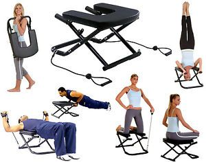 Yoga pilates exercise resistance bands chair workout gym situp bench