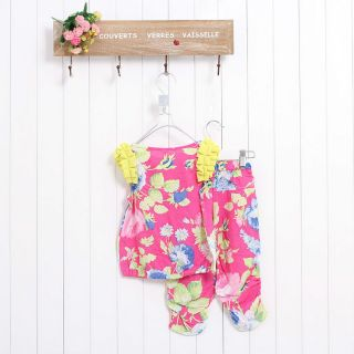 2 6Y Baby Girls Kid Children's Cotton Summer T Shirt Tops Pant Shorts Set Outfit